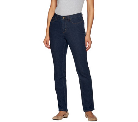 "Denim & Co. ""How Slimming"" Petite Denim Straight Leg Jeans"