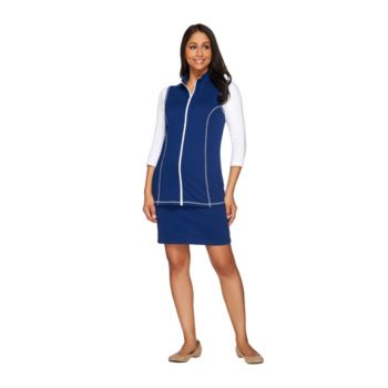 Quacker Factory French Terry Zip Front Vest and Skort Set
