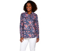 Isaac Mizrahi Live! TRUE DENIM Floral Printed Shirt