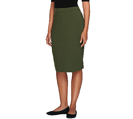 """As Is"" Susan Graver Dolce Knit Comfort Waist Pull-On Slim Skirt"