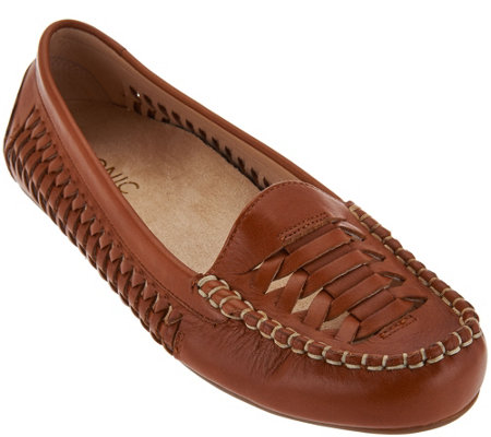 Vionic Orthotic Leather Woven Moccasins - Lively
