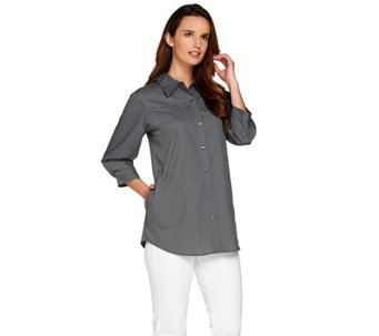 Joan Rivers Classic Boyfriend Shirt with 3/4 Sleeves - A276061