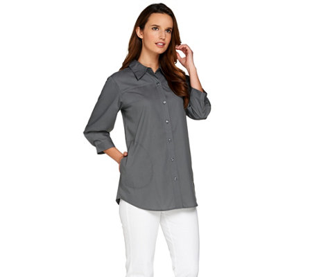 Joan Rivers Classic Boyfriend Shirt with 3/4 Sleeves
