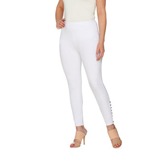Susan Graver Weekend Cotton Spandex Crop Leggings with Button Detail - A276461