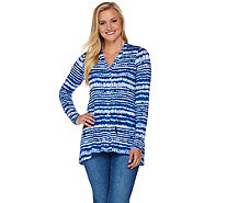 LOGO Layers by Lori Goldstein Printed Button Front Knit Cardigan - A276761