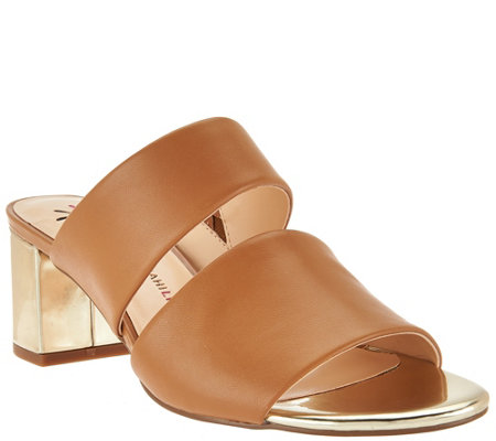 Isaac Mizrahi Live! Leather Double Strap Slide Sandals w/ Block Heel