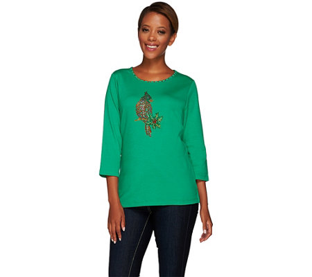 """As Is"" Quacker Factory Sparkle & Shine Holiday Motifs 3/4 Sleeve T-Shirt"