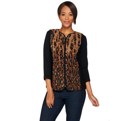 Bob Mackie's Animal Print Zip-Up Fleece Vest
