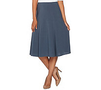 Susan Graver Textured Liquid Knit Pull-On Six Gore Skirt - A281161