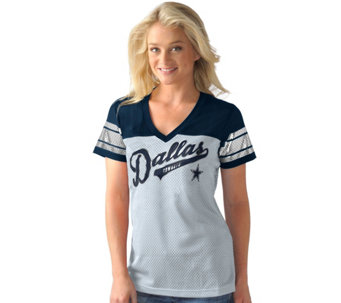 NFL Dallas Pass Rush Womens Mesh V Neck Short Sleeve Tee with Foil - A282261