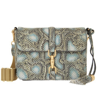 """As Is"" G.I.L.I. Leather Sporty Crossbody with Canvas Strap - A283361"