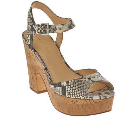 """As Is"" Marc Fisher Leather Platform Sandals - Calia"