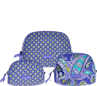 """As Is"" Vera Bradley Signature_Print Set of 3 Cosmetic Cases - A286461"