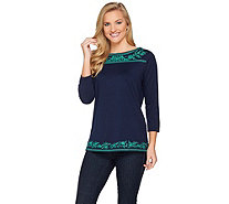 Susan Graver Weekend Embroidered Stretch Cotton Modal Top - A286561