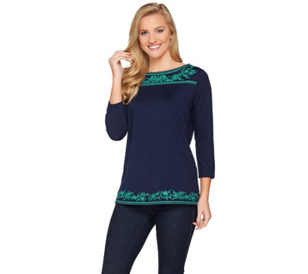 Susan Graver Weekend Embroidered Stretch Cotton Modal Top