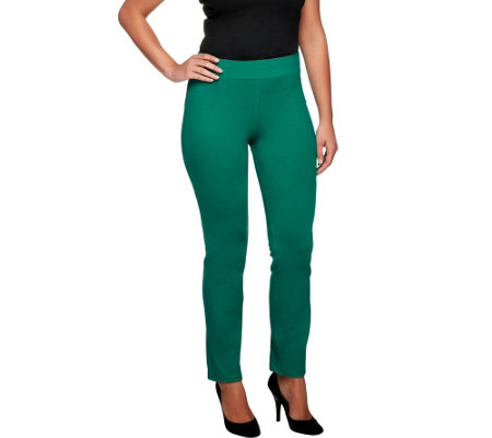 """As Is"" Women with Control Petite Ruched Side Waist Slim Leg Pants"