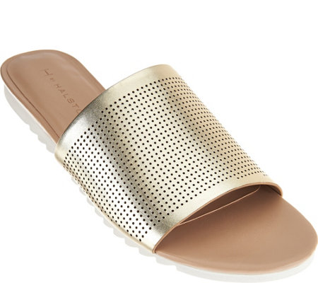 """As Is"" H by Halston Open- Toe Perforated Leather Slides - Bailey"