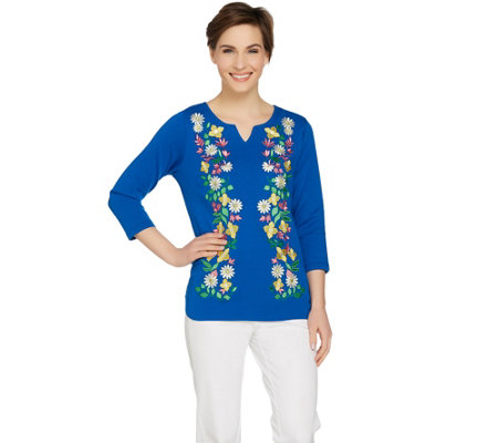 Bob Mackie's Spring Perennial Ponte Knit Pullover Top