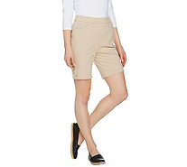 Quacker Factory DreamJeannes Pull-On Shorts with Button Detail - A289461