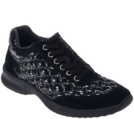 """As Is"" Judith Ripka Quilted Suede Lace-up Sneakers - Becky"