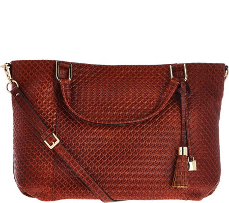 """As Is"" G.I.L.I. Italian Woven Embossed Lthr Roma 4 Tote"