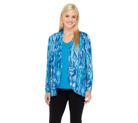 """As Is"" Bob Mackie's Sedona Daydream Print Cardigan & Solid Knit Top"