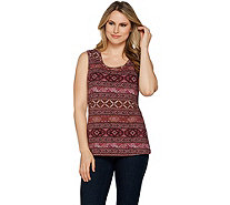 Denim & Co. Perfect Jersey Southwest Print Scoop Neckline Tank Top - A292961