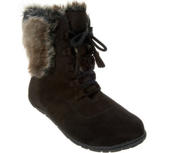 """As Is"" Cuddl Duds Lace-up Boots with Faux Fur Trim - Bee - A293161"