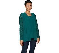 Susan Graver Textured Liquid Knit Cardigan & Tank Set with Lace - A294861
