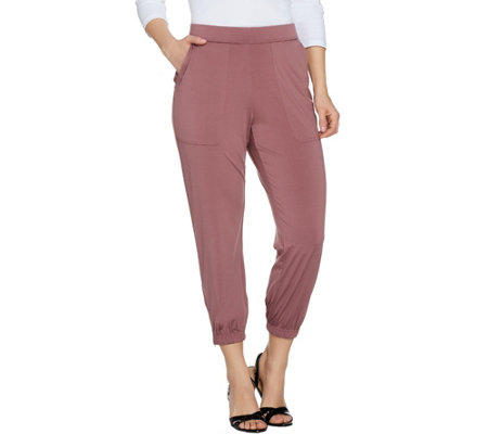 """As Is"" Lisa Rinna Collection Reg. Banded Bottom Knit Crop Pants"