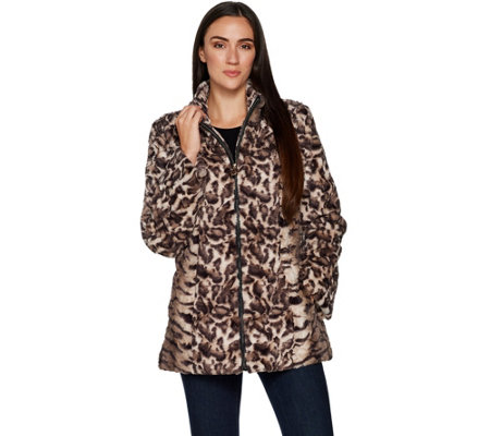 Dennis Basso Mixed Animal Print Faux Fur Jacket
