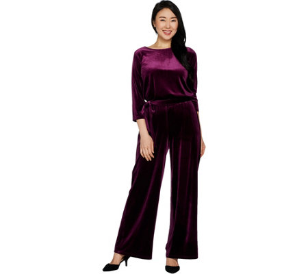 Joan Rivers Petite Length Velour Jumpsuit with 3/4 Sleeves