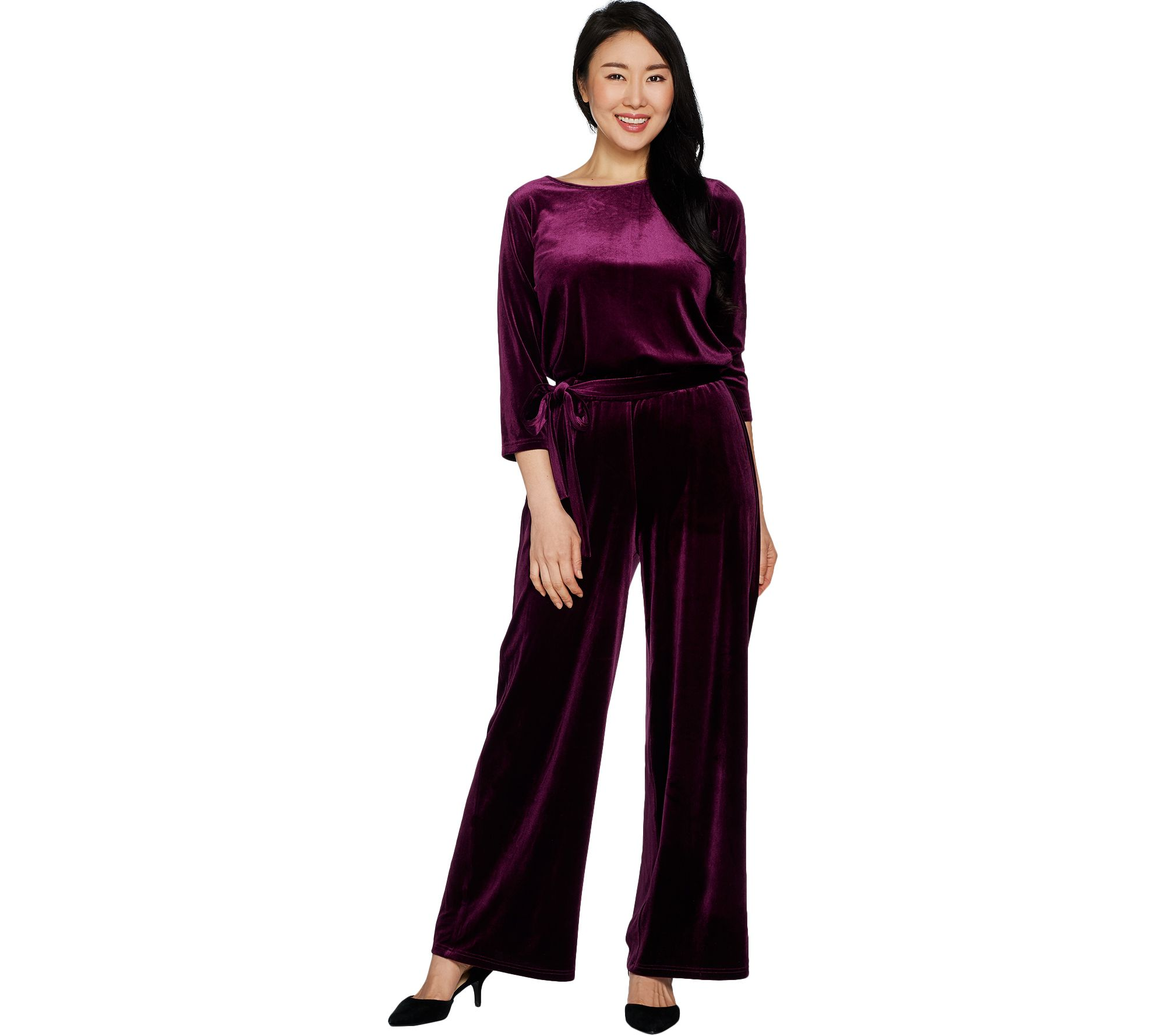 Joan Rivers Petite Length Velour Jumpsuit with 3/4 Sleeves - A298061