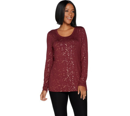 Lisa Rinna Collection Foil Print Knit Top