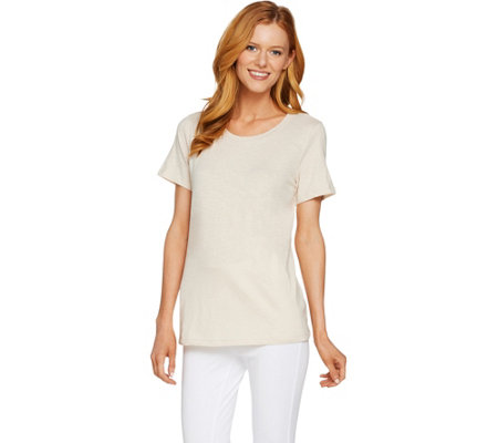 """As Is"" LOGO Layers by Lori Goldstein Short Sleeve Cotton Slub Knit Top"