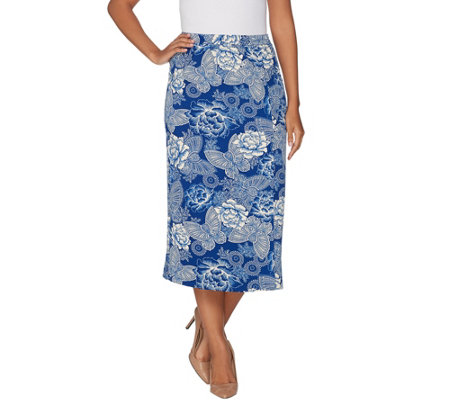 Linea by Louis Dell'Olio Faux Wrap Printed Midi Skirt