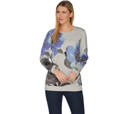 Studio by Denim & Co. Floral Printed French Terry Crew Neck Top