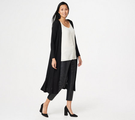 Lisa Rinna Collection Knit Duster with Ruffle Hemline