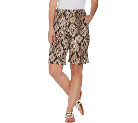 Denim & Co. French Terry Ikat Print Pull-on Shorts with Pockets