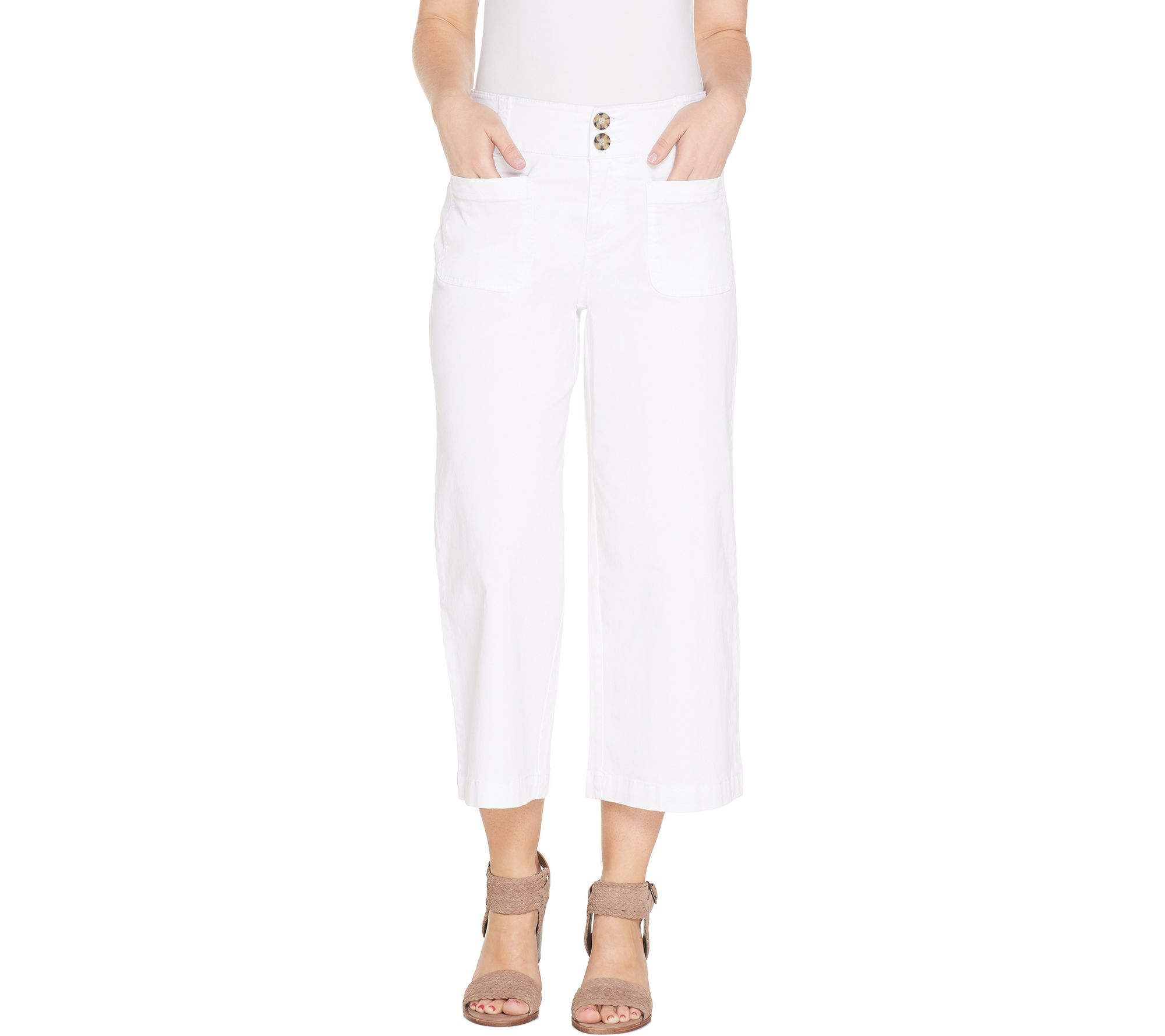 Denim & Co. Stretch Twill Wide Leg Crop Pant - A307961