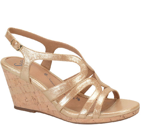 Sofft Leather Wedge Sandals - Corinth
