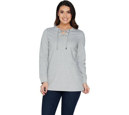 """As Is"" Denim & Co. Active Long Sleeve Crew Neck Top with Lace Up Detail"
