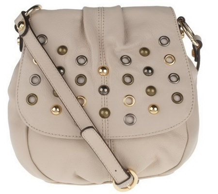 B. Makowsky Glove Leather Flap Crossbody Bag with Stud Accents