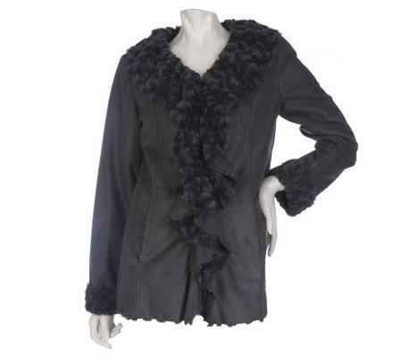 Dennis Basso Faux Suede Ruffle Front Jacket with Faux Fur Lining
