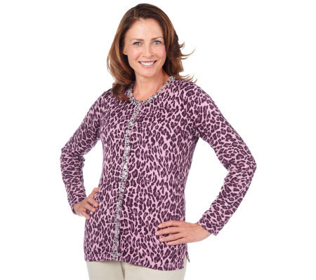 Quacker Factory Animal Print Cardigan