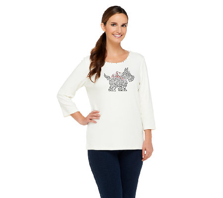 Quacker Factory Sparkle & Shine Holiday Motifs 3/4 Sleeve T-shirt