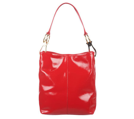 JPK Paris75 Patent Leather Betty Bucket Bag with Logo Hardware