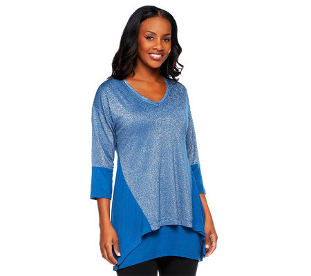 LOGO by Lori Goldstein Metallic Double Layer Knit Top