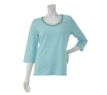 Denim & Co. 3/4 Sleeve Scoop Neck Top with Beaded Neckline Trim