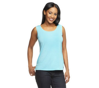 Linea by Louis Dell'Olio Feather Jersey Tank with Side Slits - A233962
